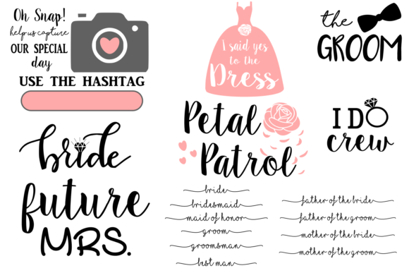 Print on Demand: Wedding Svg Bundle Graphic Crafts By Auntie Inappropriate Designs