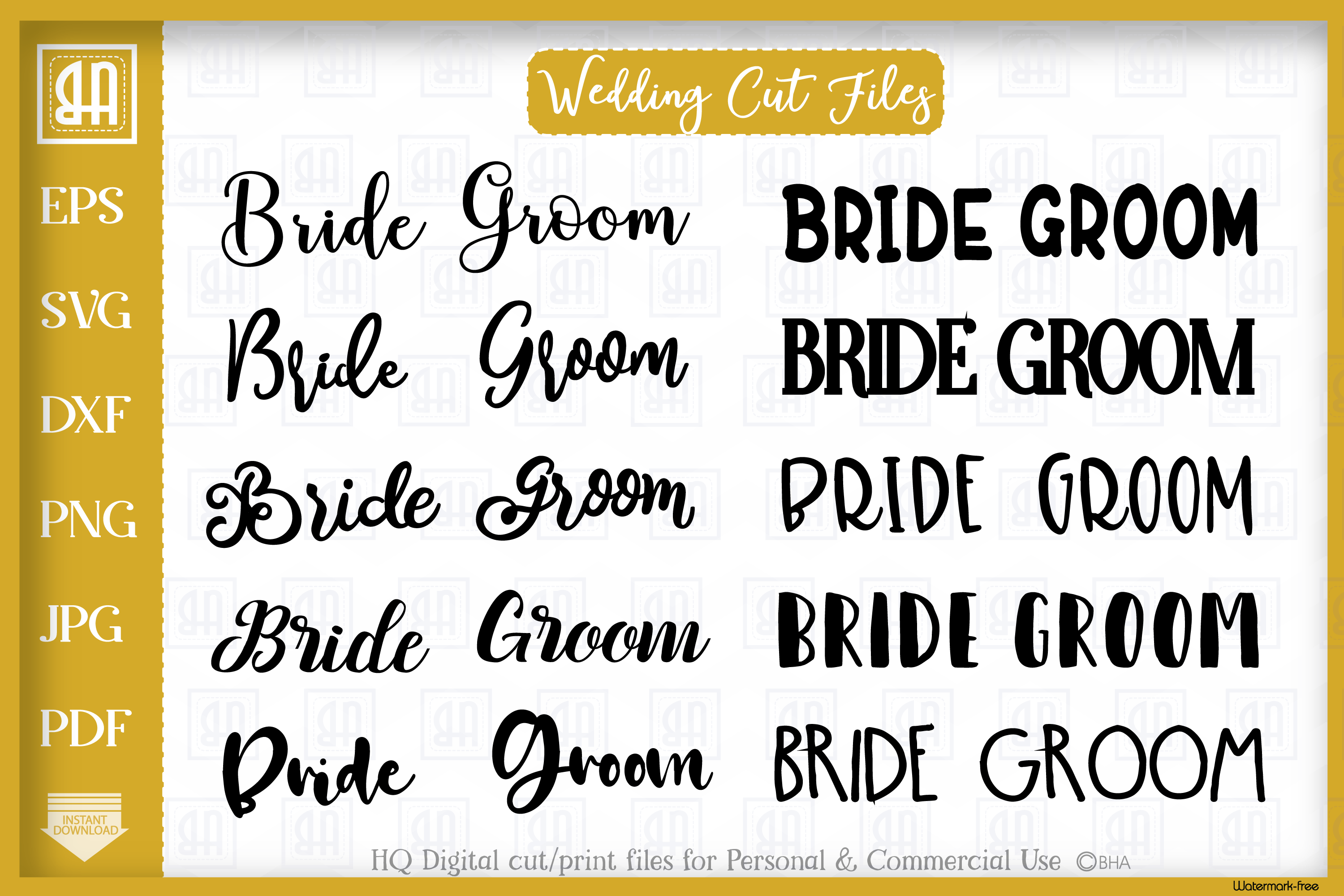 Download Free Wedding Bundle Grafico Por Blueberry Hill Art Creative Fabrica for Cricut Explore, Silhouette and other cutting machines.
