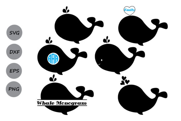 Download Free Whale Monogram Graphic By Cosmosfineart Creative Fabrica for Cricut Explore, Silhouette and other cutting machines.