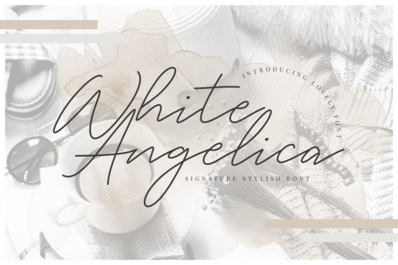 Print on Demand: White Angelica Script & Handwritten Font By CreatypeStudio