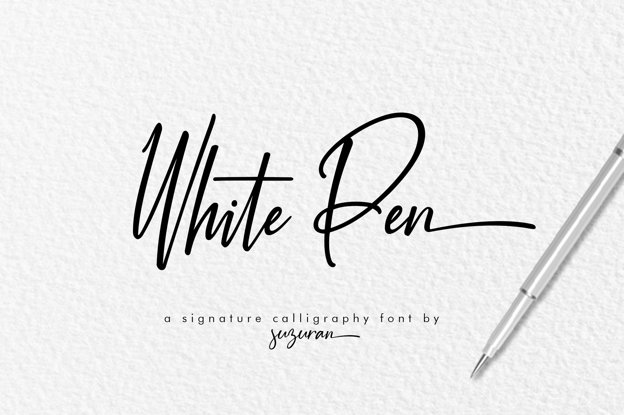 Download Free White Pen Script Font By Suzurantype Creative Fabrica for Cricut Explore, Silhouette and other cutting machines.