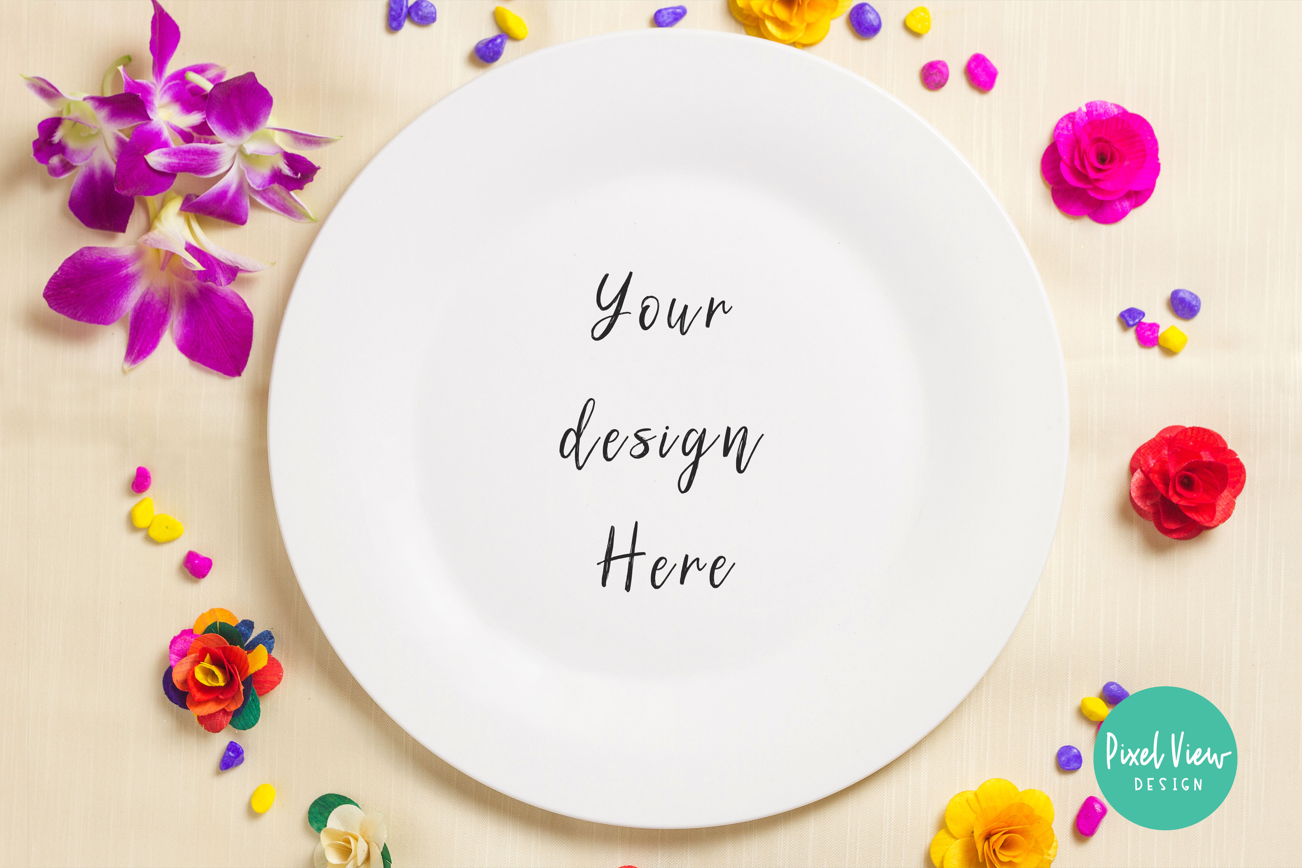 Download Free White Plate Mockup Graphic By Pixel View Design Creative Fabrica for Cricut Explore, Silhouette and other cutting machines.