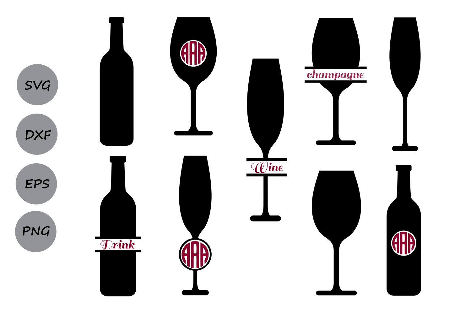 Download Free Wine Glass Monogram Svg Graphic By Cosmosfineart Creative Fabrica for Cricut Explore, Silhouette and other cutting machines.