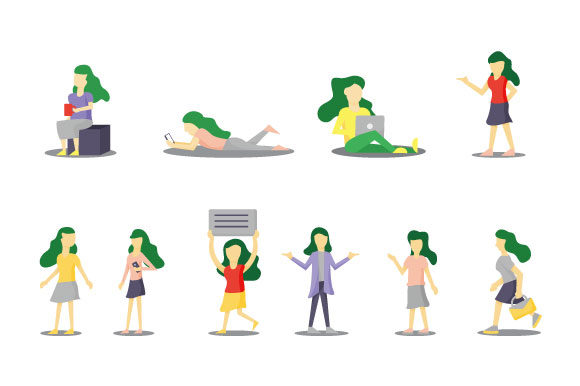 Woman Activity Character Isolated on White. Vector Illustration Graphic Illustrations By hartgraphic
