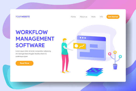 Work Flow Management Software Graphic Landing Page Templates By Twiri