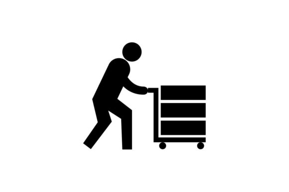 Download Free Worker Pushing Trolley With Box Icon Eps 10 Vector Graphic By for Cricut Explore, Silhouette and other cutting machines.