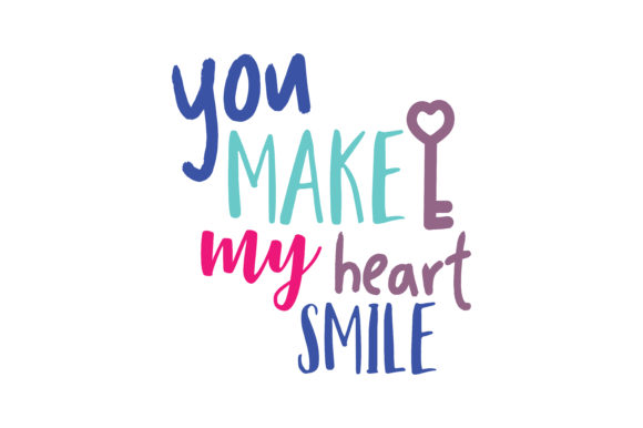 Download Free You Make My Heart Smile Quote Svg Cut Graphic By Thelucky for Cricut Explore, Silhouette and other cutting machines.