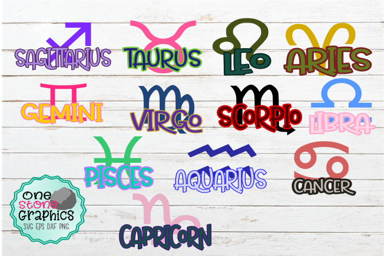 Download Free Zodiac Signs Bundle Graphic By Onestonegraphics Creative Fabrica for Cricut Explore, Silhouette and other cutting machines.
