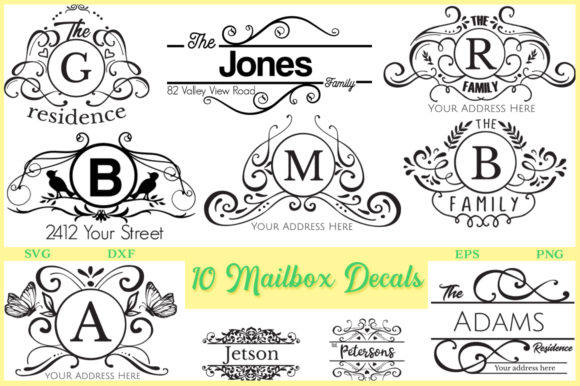 Print on Demand: 10 Mailbox Decals  Graphic Crafts By Nerd Mama Cut Files
