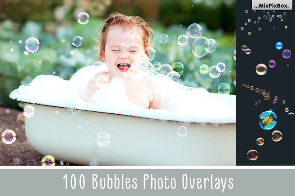 Print on Demand: 100 Bubbles Photoshop Overlays Graphic Layer Styles By MixPixBox