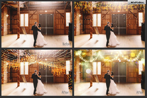 Print on Demand: 100 Golden Lights Photo Overlays Graphic Layer Styles By MixPixBox - Image 2
