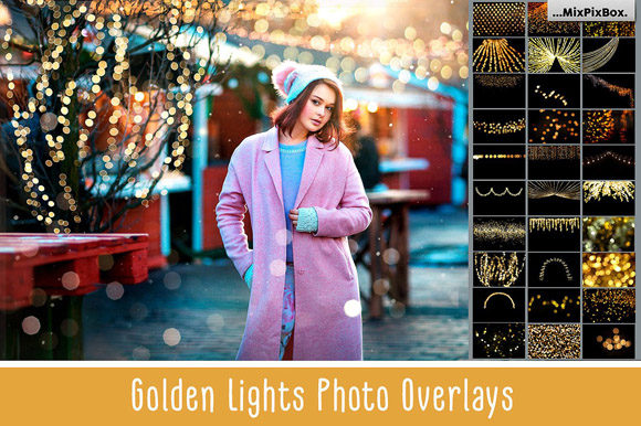 Print on Demand: 100 Golden Lights Photo Overlays Graphic Layer Styles By MixPixBox
