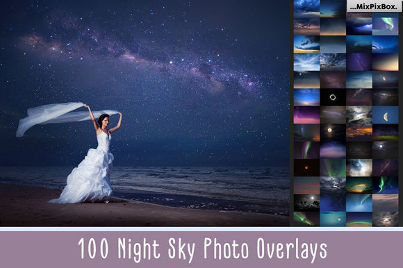 Print on Demand: 100 Night Sky Overlays Graphic Layer Styles By MixPixBox