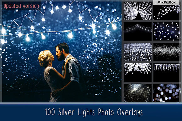 Print on Demand: 100 Silver Lights Photo Overlays Graphic Layer Styles By MixPixBox