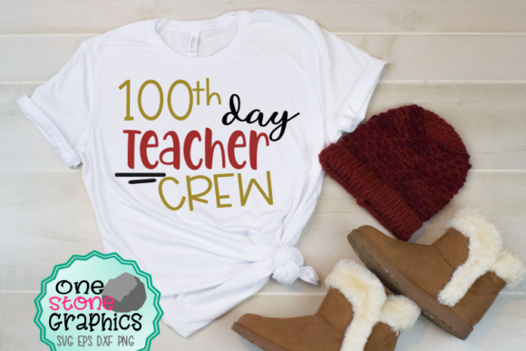 Download Free 100th Day Teacher Crew Svg Graphic By Onestonegraphics for Cricut Explore, Silhouette and other cutting machines.