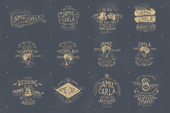 Print on Demand: 12 Vintage Wedding Badges & Stickers Graphic Logos By Blue Robin Design Shop