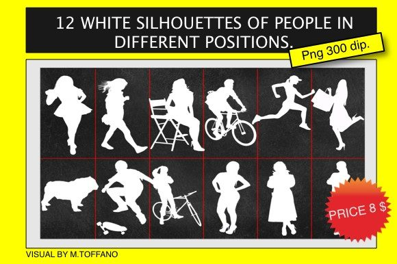 12 White Silhouettes of People in Different Positions. Graphic Graphic Templates By massimo.toffano - Image 1