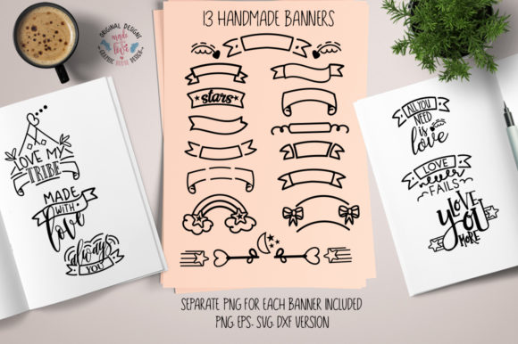 13 Banners & 6 Love Quotes Grafik Illustrationen von GraphicHouseDesign