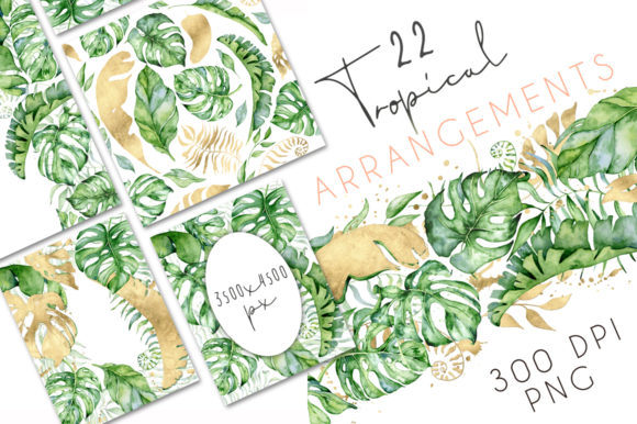 22 Tropical Arrangements watercolor Jungle Clipart Graphic Illustrations By EvgeniiasArt