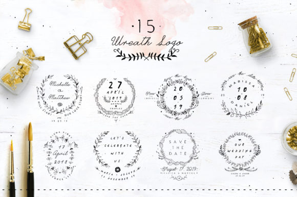 Print on Demand: 30 Save the Date Wreath Logo Graphic Logos By Blue Robin Design Shop - Image 2