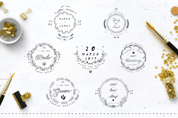 Print on Demand: 30 Save the Date Wreath Logo Graphic Logos By Blue Robin Design Shop - Image 3