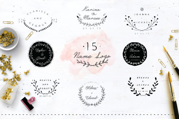 Print on Demand: 30 Save the Date Wreath Logo Graphic Logos By Blue Robin Design Shop - Image 4