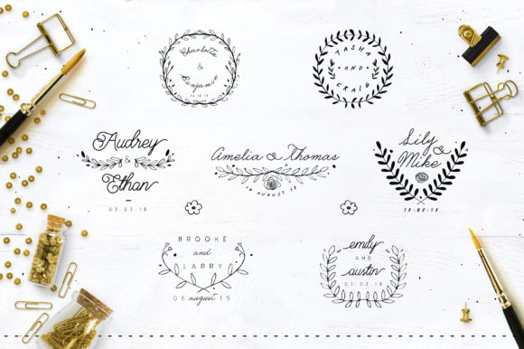 Print on Demand: 30 Save the Date Wreath Logo Graphic Logos By Blue Robin Design Shop - Image 5