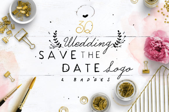 Print on Demand: 30 Save the Date Wreath Logo Graphic Logos By Blue Robin Design Shop