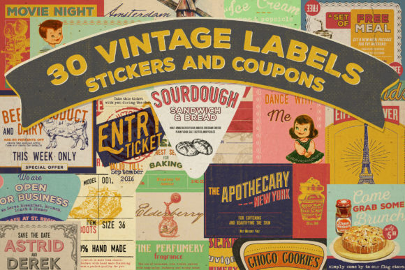 Print on Demand: 30 Vintage Label, Sticker and Coupon Graphic Print Templates By Blue Robin Design Shop
