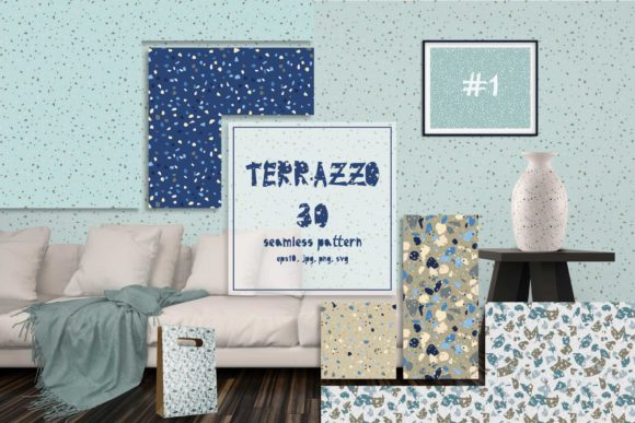 Print on Demand: 30 Terrazzo Seamless Patterns Graphic Patterns By z.zajka