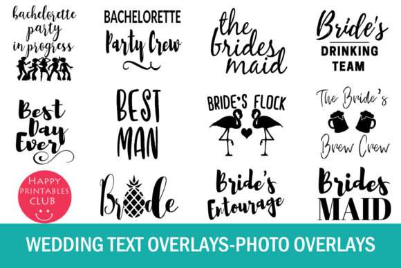 Print on Demand: 38 Wedding Text Overlays Graphic Illustrations By Happy Printables Club - Image 2