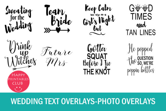 Print on Demand: 38 Wedding Text Overlays Graphic Illustrations By Happy Printables Club - Image 4