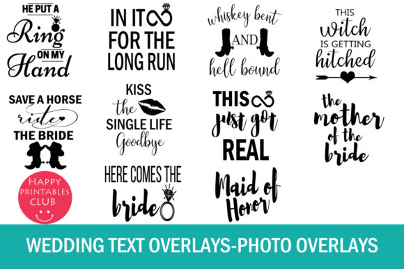 Print on Demand: 38 Wedding Text Overlays Graphic Illustrations By Happy Printables Club - Image 5