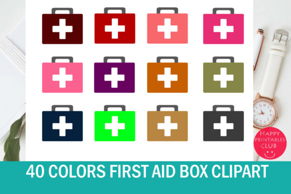 Print on Demand: 40 Colors Doctor First Aid Box Clipart Graphic Illustrations By Happy Printables Club