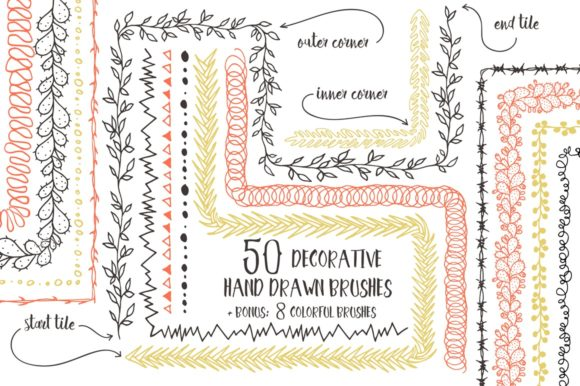 50 Vector Pattern Brushes Graphic Brushes By Anastasiia Macaluso