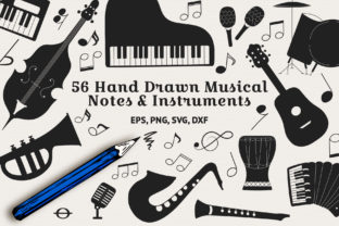56 Musical Instruments & Notes Graphic By Kirill's Workshop