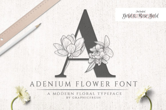 Print on Demand: Adenium Flower Sans Serif Font By Graphicfresh