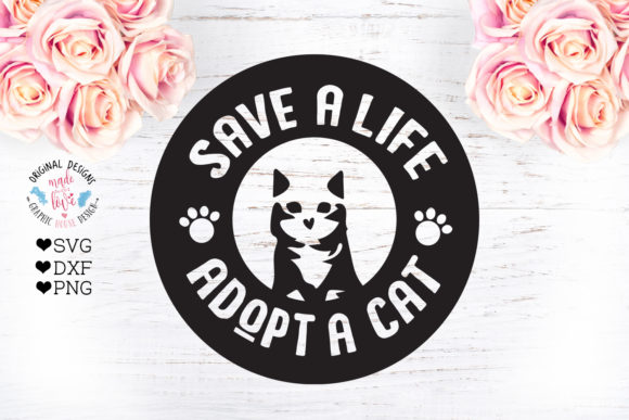 Print on Demand: Adopt a Cat - Cat Pet Rescue Cut File Graphic Crafts By GraphicHouseDesign