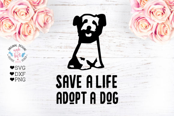 Print on Demand: Adopt a Dog - Dog Pet Rescue Cut File Graphic Crafts By GraphicHouseDesign