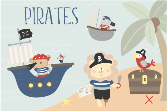 Print on Demand: Animal Pirates Clipart and Paper Set Graphic Illustrations By poppymoondesign
