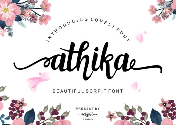 Print on Demand: Athika Script & Handwritten Font By ergibi studio