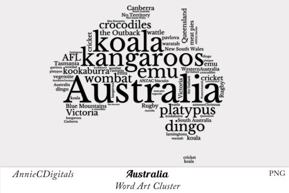 Download Free Australia Word Art Cluster Graphic By Anniecdigitals Creative for Cricut Explore, Silhouette and other cutting machines.