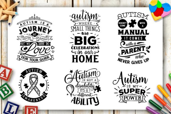Download Free Autism Bundle Graphic By Blackcatsmedia Creative Fabrica for Cricut Explore, Silhouette and other cutting machines.