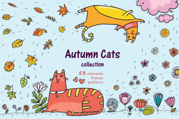Print on Demand: Autumn Cats Graphic Objects By Zooza Art
