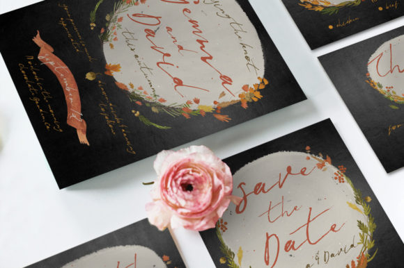 Download Free Autumn Floral Wedding Invitation Suite Graphic By Blue Robin for Cricut Explore, Silhouette and other cutting machines.