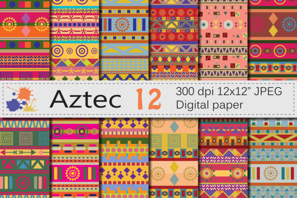 Aztec Digital Papers Graphic Patterns By VR Digital Design
