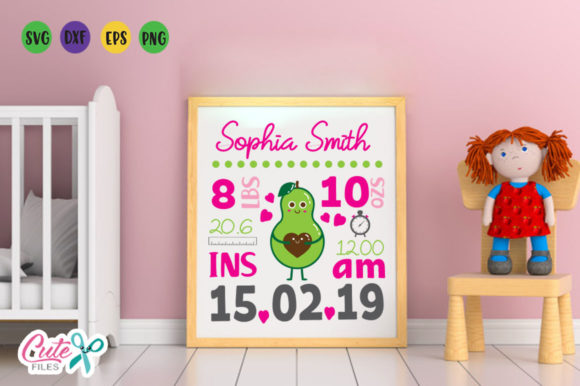 Download Free Baby Birth Announcement Template Avocado Svg File Graphic By for Cricut Explore, Silhouette and other cutting machines.