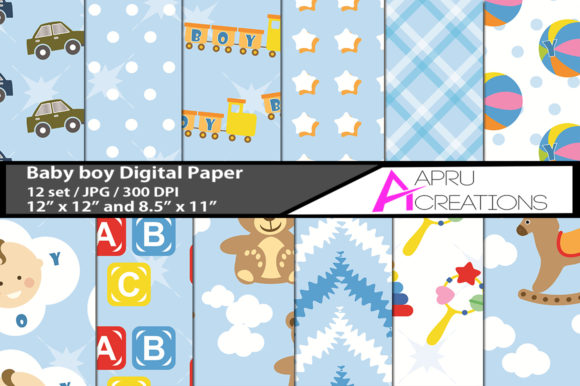 Print on Demand: Baby Boy Digital Papers Graphic Backgrounds By aparnastjp