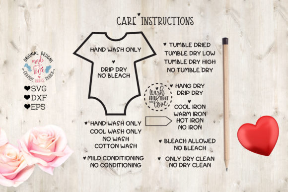 Baby T-shirt Washing Care Instructions Graphic Illustrations By GraphicHouseDesign - Image 1