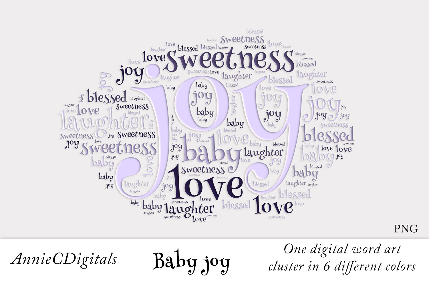 Download Free Baby Joy Word Art Cluster Graphic By Anniecdigitals Creative for Cricut Explore, Silhouette and other cutting machines.
